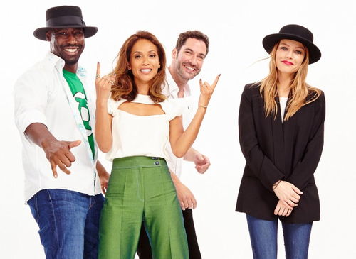 Lucifer (Fox) Обои probably with a well dressed person and a business suit called D.B. Woodside, Lesley-Ann Brandt, Tom Ellis and Lauren German.