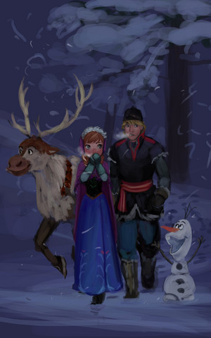 Anna and Kristoff with Olaf and Sven