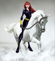 Black Widow riding her Beautiful White Steed - marvel-superheroines fan art