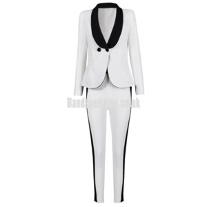 Black and White Pant Suit With Sexy Deep Plunge Front