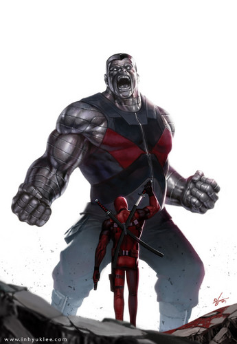 Deadpool (2016) fondo de pantalla probably containing a breastplate and an armor plate entitled Colossus vs Deadpool