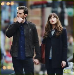Dakota Johnson and Jamie Dornan Hold Hands on 'Fifty Shades Darker' Set!