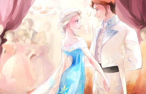 Frozen achtergrond titled Elsa and Hans