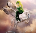 Enchantress rides on her Beautiful Winged Unicorn Steed - marvel-superheroines fan art