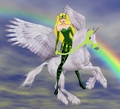 Enchantress riding her new Beautiful Winged Unicorn Steed - marvel-superheroines fan art
