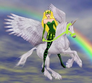 Enchantress riding her new Beautiful Winged Unicorn سواری, سٹیڈ