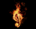 music - Fiery Treble Clef wallpaper