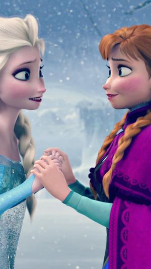Frozen Anna and Elsa phone wallpaper