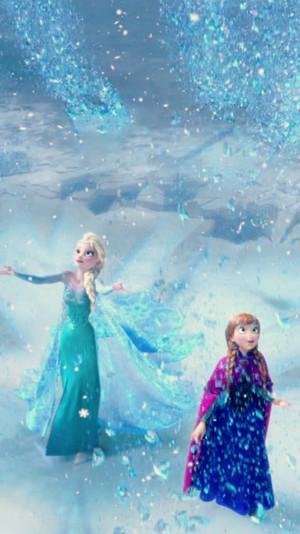 La Reine des Neiges Anna and Elsa phone fond d'écran