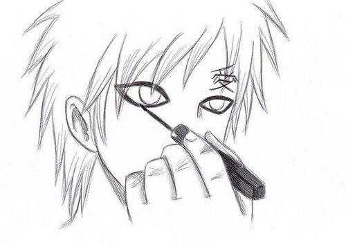 Gaara of Suna wolpeyper probably containing anime called Gaara puts on Eyeliner! *o*