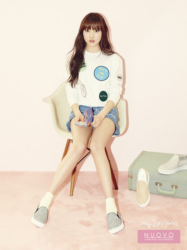 GFriend wallpaper possibly containing bare legs, a playsuit, and tights entitled Gfriend yuju