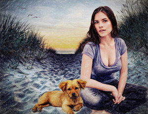 Hayley Atwell Dunes w dog and seagulls small