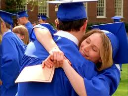 Jack & Andie hugging at graduation