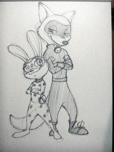 Disney's Zootopia Hintergrund titled Judy and Nick - Miraculous Ladybug