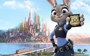 "JudyHopps from Zootopia and her badge reads ""Police officer - Trust, Integrity, Bravery"""