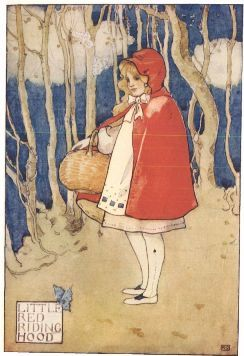 Grimm's Fairy Tales wallpaper probably containing a sign and anime entitled Little Red Riding Hood