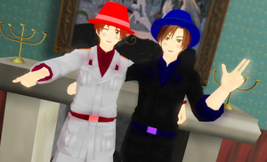 Mafia Bro. Italy and Romano in their other mafia clothes