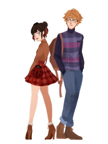 Miraculous Ladybug Hintergrund possibly containing bare legs, a playsuit, and a well dressed person entitled Marinette and Adrien