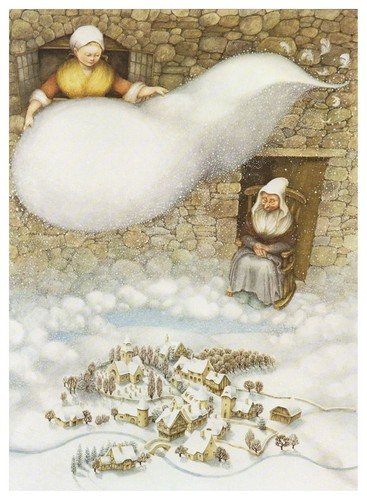 Grimm's Fairy Tales wallpaper with a hot tub, an igloo, and a kitten entitled Mother Hulda