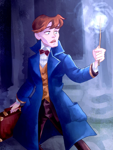 Fantastic Beasts and Where to Find Them wallpaper probably with a business suit called Newt Scamander fan Art