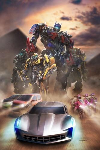 Transformers karatasi la kupamba ukuta titled Optimus Prime, Ironhide, Ratchet, Bumblebee, Elita-One, Arcee, Chromia, the twins,