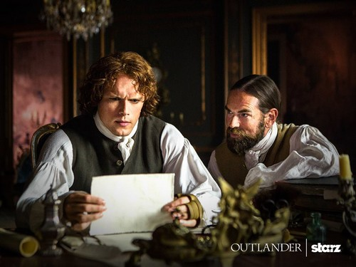 Outlander 2014 TV Series پیپر وال probably with a sign, a brasserie, and a coffee break entitled Outlander Season 2 First Look