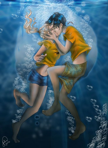 תוצ�ת ת�ונה עבור ‪percy jackson percabeth fan art kissing underwater‬�