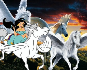 Princess жасмин flying with a Pegasus