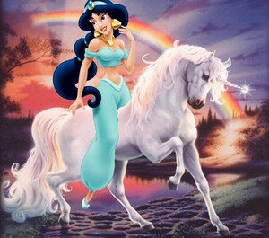 Princess Jasmine rides on a Unicorn