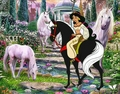 Princess Jasmine riding her horse with a Family of Beautiful White Unicorns - princess-jasmine fan art