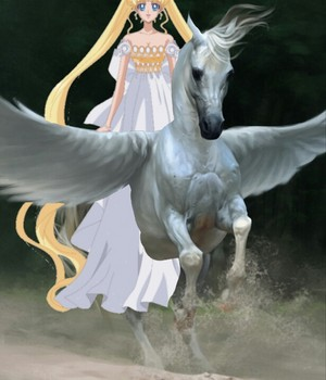 Princess Serenity riding on her Beautiful Pegasus coursier, steed