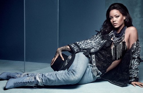 Rihanna wallpaper possibly containing a window seat and a living room entitled Rihanna for British Vogue