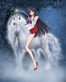 Sailor Mars rides on an Beautiful White Unicorn