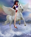 Sailor Mars rides on her Beautiful White Pegasus Stallion