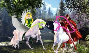 Scarlet Witch and Enchantress riding their Beautiful Unicorn Steeds