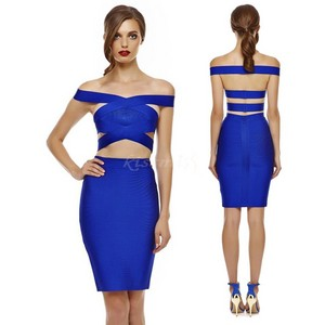 Sexy Blue Criss-Cross Off The Shoulder Cut Out Two Piece Bandage Dress