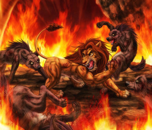 Simba fights the hyenas