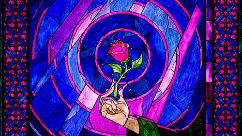 Beauty and the Beast wallpaper containing a chainlink fence and a stained glass window titled Stained Glass Wallpaper