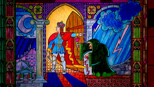 Beauty and the Beast wallpaper with a stained glass window entitled Stained Glass Wallpaper