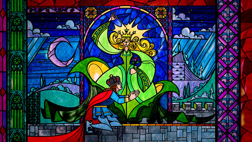 Beauty and the Beast wallpaper with a stained glass window and anime called Stained Glass Wallpaper