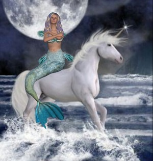 Sweet Cute Mermaid riding an Beautiful White Unicorn