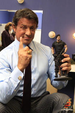 Sylvester Stallone with his action figure