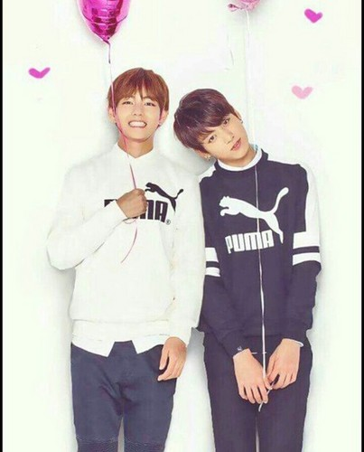 "VKook (BTS) wallpaper titled V/ Kookie *-**""˜˜""*°•.ƸӜƷ"