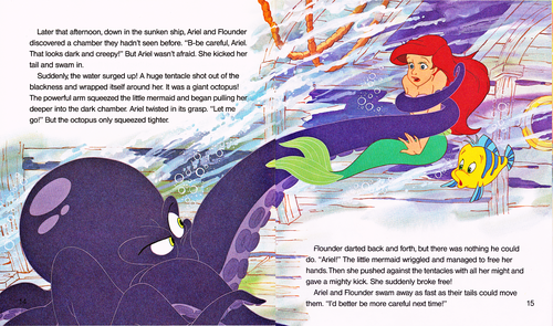 Walt Disney Characters achtergrond with anime and a newspaper called Walt Disney Book Scans - The Little Mermaid: Ariel and the Secret Grotto (English Version)