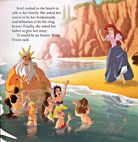 Walt Disney Characters achtergrond possibly containing anime entitled Walt Disney Book Scans - The Little Mermaid: Ariel's Royal Wedding (English Version)