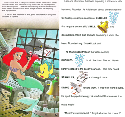Walt Disney Characters wallpaper titled Walt Disney Book Images - The Little Mermaid: Golden Sound Story