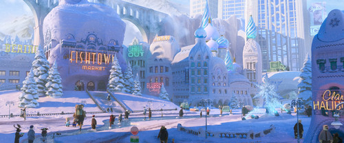 Disney's Zootopia Hintergrund containing a street, a business district, and a brownstone, braunstein called Zootopia Hi-Res Stills