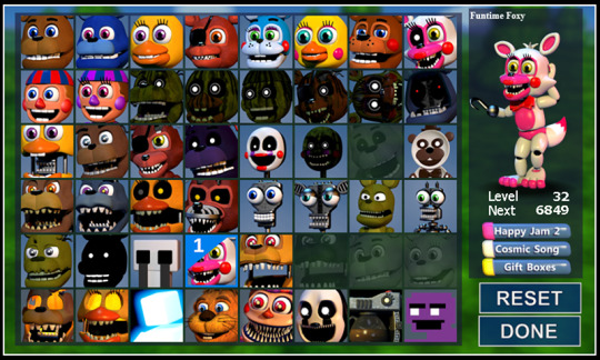 fnafworld character lista update - five nights at freddy's