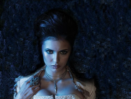 Katherine Pierce and Elena Gilbert wallpaper probably with a mantilla, a mantelet, and a bridesmaid titled katherine...