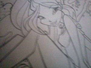winx club Drawing of flora 2d designed in a sheet